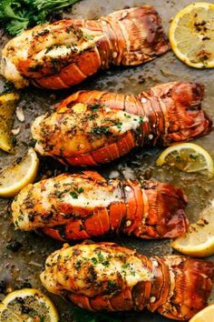 The Best Lobster Tail Recipe Ever is a decadent dinner made with large lobster tails smothered with a buttery garlic herb sauce then broiled under high heat making these lobster tails tender and juicy. The ultimate indulgence! Best Lobster Tail Recipe, Baked Lobster Tails, Broil Lobster Tail, Cooking Lobster Tails, How To Cook Lobster, Lobster Meat, Shrimp And Lobster Boil Recipe, Boiled Lobster Tail Recipe, Oven Baked Lobster Tail Recipe