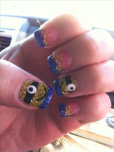 Despicable Me Nails. Minion Nails. Acrylic Nails. 2014. Nail Design. Cute. Minion.