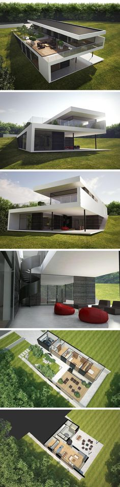 I would install solar panels on the roof, cover the concrete porch with wood, minimize the size of the stones leading to the stairs in the third picture, and replace the black walls with wood. -HSG modern 300 m2 house in Vilnius by NG architects