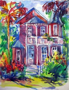 Key West, original watercolor painting. $75.00, via Etsy.