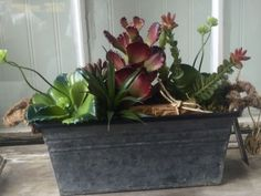 Wholesale Faux Succulent Arrangement Old Metal Farmhouse Container