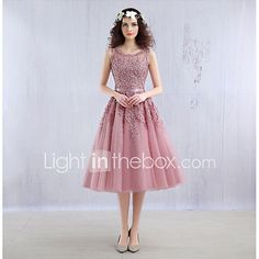 Ball Gown Illusion Neckline Tea Length Lace Tulle Cocktail Party Homecoming Dress with Beading Lace by ARMK 2018 - $80.99