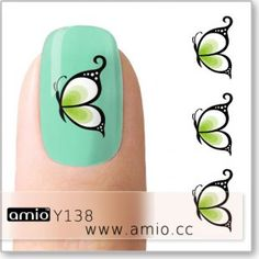 water nail decal green butterfly Print On Paper Bags, Beauty Tips, Beauty Hacks, Water Nails, Green Butterfly, Nail Decals, Love Nails, You Nailed It, Nailart