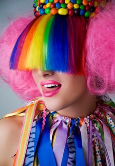 Items similar to MADE TO ORDER Willy Wonkas Mistress Candy Inspired Headdress halloween wig headpiece cupcake cotton candy treats sweets on Etsy Meme Costume, Taste The Rainbow, Over The Rainbow, Rainbow Things, World Of Color, Color Of Life, Walt Disney, Halloween Wigs, Willy Wonka