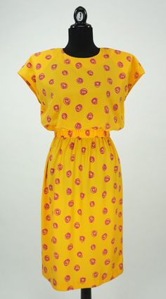 Vintage 1980s Yellow Andrea Gayle Dress Size 10 / by CeeLostInTime