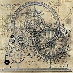 Steampunk Painting - Autowheel II by James Christopher Hill Arte Steampunk, Steampunk Artwork, Steampunk Illustration, Etiquette Vintage, Beste Tattoo, Vintage Maps, Compass Tattoo, All Art, Art For Sale