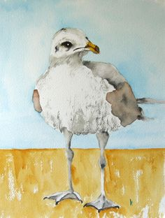 large watercolor bird print seagull art by Betty by bMoorearts