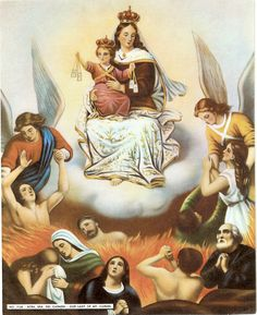 Our Lady of Mt. Carmel, Mother of Mercy, pray for us! Beautiful Catholic Holy Cards - Retronaut