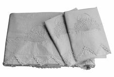 SALE  Antique Trousseau Bedding  Flower Basket Sheet & 2