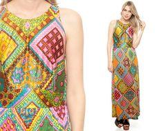 PATCHWORK Maxi Dress 70s Boho Hippie Geometric Print by ShopExile