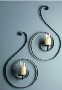IMAX Forte Sconces - Set of 2 – Modish Store - Contemporary black swirl iron wall sconces with glass candle hurricanes Iron Furniture, Home Decor Furniture, Diy Home Decor, Wrought Iron Decor, Wrought Iron Gates, Candle Holder Decor, Candle Wall Sconces, Candle Stand, Welding Projects