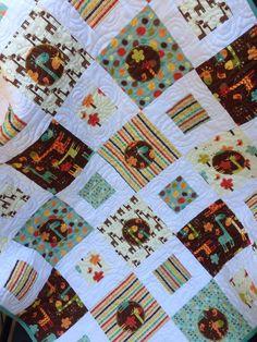 Giraffe Crossing Quilt Blanket, Nursery Crib Bedding, Riley Blake, Square and Circles by ShellySQuiltsandMore on Etsy
