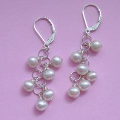 Sweet Dangle White Pearl Earrings . Bridal . Pearl . Chain . Sterling Silver . Wire Wrapped