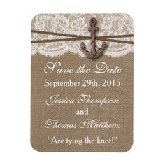 Lace Wedding Save the Date The Rustic Nautical Anchor Wedding Collection Rectangular Photo Magnet