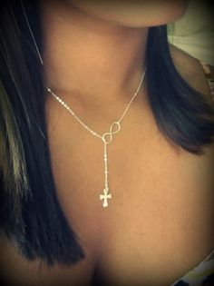 Cross and Infinity Lariat new design sterling by Keepitclose.  Style inspiration.
