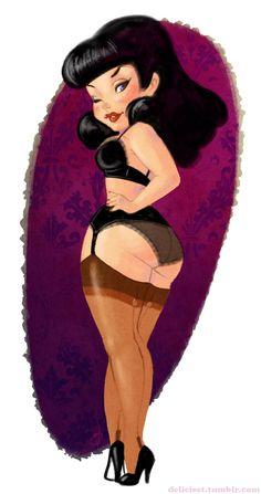 Pin-Up Girl cartoon - Lingerie Cutie Pinup Art, Estilo Pin Up, Photo Vintage, Rockabilly Pin Up, Sexy Cartoons, Pin Up Style, Girl Cartoon, Big And Beautiful, Erotic Art