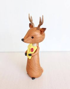Deer Birthday Cake Topper personalised polymer clay figurine