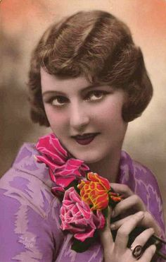 vintage postcard woman with roses