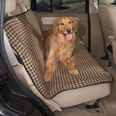 Houndstooth Car Seat Cover: Camel with Brown