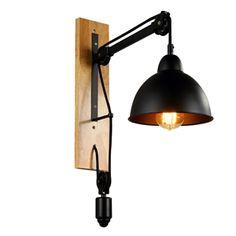 Style américain rustique en Fer chambre  coucher deux lampes