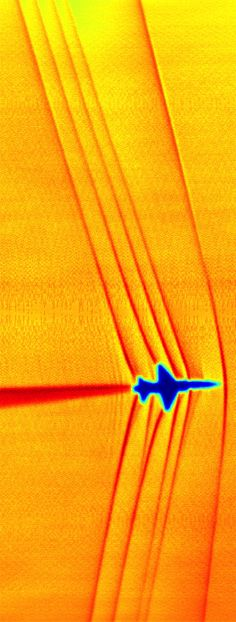 This schlieren image of a T-38C was captured using the patent-pending BOSCO technique. This schlieren image of T-38C shock waves was captured using the sun's edge as a light source and then processed using NASA-developed code.