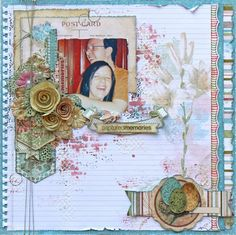 """Scraps of Elegance scrapbook kits - Patricia Basson created this gorgeous happy mixed media layout with our """"Lynnes Garden Terrace"""" kit. Find our kits here: www.scrapsofdarkness.com"""