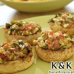 Pieczarki FASZEROWANE na grilla lub piekarnika Polish Recipes, Bruschetta, Baked Potato, Tapas, Grilling, Stuffed Mushrooms, Food And Drink, Appetizers, Menu