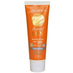 Aubrey Organics, Natural Sun, Broad Sprectrum SPF 30 Sunscreen, Unscented, 4 fl oz