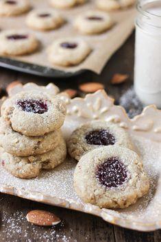 Vegan Cookies - As Requested! X Raspberry Thumbprint Cookies! Vegan Dessert Recipes, Vegan Sweets, Almond Recipes, Cookie Recipes, Vegan Food, Buttery Sugar Cookies, Raspberry Cookies, Thumbprint Cookies Recipe, Vegan Cake