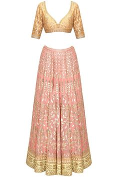 Buy Blush Pink Gota Patti Embroidered Lehenga Set By Anita Dongre online in India at best price.Featuring a blush pink georgette foil lehenga embellished with traditional gota patti embroidery in floral Choli Designs, Lehenga Designs, Indian Attire, Indian Wear, Indian Dresses, Indian Outfits, Ethnic Outfits, Salwar Kameez, Sharara