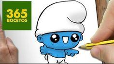 Kawaii schtroumpfs Sweet Drawings, Cute Cartoon Drawings, Amazing Drawings, Kawaii Drawings, Easy Drawings, 365 Kawaii, Kawaii Diy, Kawaii Anime, Disney Clipart