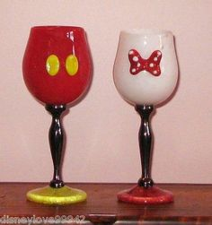minnie mouse painted wine goblets   ... Arribas Mickey Minnie SET 2 Wine Goblets Chalice Water Glasses Wedding