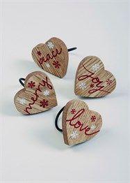 4 Pack Wooden Heart Napkin Rings ( 6cm x 6cm x 6cm)