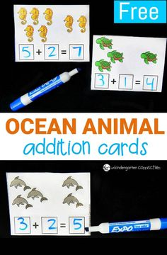 Have some fun working on addition to 10 with these ocean animal themed addition cards! Perfect for adding to math centers for an ocean theme.