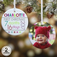 135ccca5c328c 2-Sided Baby s First Christmas Age Glossy Christmas Ornament