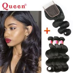 4 Bundles With Lace Closure 5pcs lot Brazilian Virgin Hair with Closure Human Hair Weave With Closure Brazilian Body Wave US $122.37