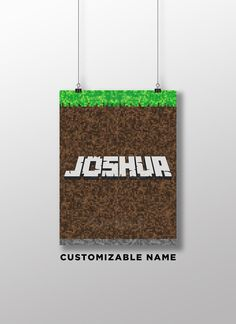 Personalized Minecraft Print Poster - Minecraft Bedroom Poster - Various Sizes