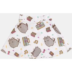 Dance Party Pusheen ladies junior skater skirt (€19) ❤ liked on Polyvore featuring skirts, bottoms, pusheen, party skirts, white skater skirt, white party skirt, white circle skirt and flared skirt