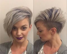 Granny hair color, but definitely not a granny hairstyle. Shaved one side, volume on the other. Could you rock this look? Undercut Hairstyles Women, Pretty Hairstyles, Girl Hairstyles, Undercut Pixie, Grey Hair Undercut, One Side Shaved Hairstyles, Short Hair With Undercut, Shaved Side Haircut, Bob Hairstyles