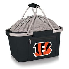 Cincinnati Bengals picnic basket tote bag. Lightweight, insulated Bengals basket. Features waterproof interior and expandable drawstring top. Aluminum frame with polyester canvas. Great for picnics, g
