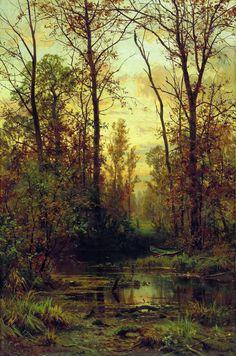 "Ivan Ivanovič Šiškin (Russian, 1832-1898), ""Лесная заводь. Осень/Forest Creek. Autumn"" (1897) Oil on canvas, 103 x 67,4 cm Plës/Plyos (Russia), State Historical, Architectural and Art Museum Reserve"