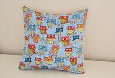 Owl Cushion Cute & Fun Print - Pretty Blue / Cream Pillow with Happy Owls -  Under 25 pounds /  Under 40 dollars. £20.00, via Etsy.
