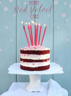 Pretty Naked Red Velvet Birthday Cake