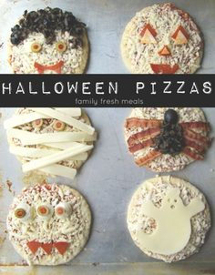 Fun Halloween Pizza Ideas Around her, Fridays are pizza nights. Since Halloween falls on a Friday this year, I thought it would be fun to come up with some fun Halloween Pizza Ideas! Halloween Pizza, Halloween Snacks, Hallowen Food, Dulces Halloween, Soirée Halloween, Halloween Buffet, Halloween Dinner, Halloween Goodies, Halloween Birthday