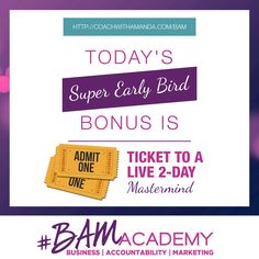 #BAM Academy is NOW OPEN to Wait Listers ONLY! Sign up for the #BAM Academy Wait List today and get access to 2 Tickets to a Live 2 Day Mastermind. The earlier you sign up, the more bonuses you get. After today, these ticket bonuses are GONE! JOIN HERE >> http://coachwithamanda.com/bam?utm_content=buffer610a9&utm_medium=social&utm_source=pinterest.com&utm_campaign=buffer   #BAM #coaching #femaleentrepreneur #womeninbusiness #bossbabes #ladyboss #businesswomen #businesswoman #heartcentered…