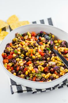 This homemade black bean corn salsa is sure to be a hit with any crowd! Mexican Food Recipes, Vegetarian Recipes, Healthy Recipes, Mexican Dishes, Yummy Recipes, Healthy Side Dishes, Side Dish Recipes, Homemade Salsa, Homemade Black
