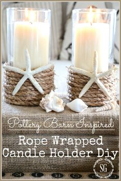 DECORATING IDEAS - StoneGable Dollar Tree Vases with a pillar candle, Sisal Rope, and starfish or sand dollars.Dollar Tree Vases with a pillar candle, Sisal Rope, and starfish or sand dollars. Seashell Crafts, Beach Crafts, Summer Crafts, Diy Crafts, Summer Diy, 2017 Summer, Summer Beach, Seashell Projects, Simple Crafts