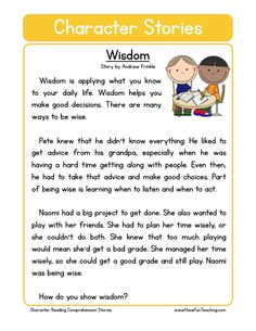 This Reading Comprehension Worksheet - Wisdom is for teaching reading comprehension. Use this reading comprehension story to teach reading comprehension. First Grade Reading Comprehension, Reading Comprehension Worksheets, Reading Fluency, Reading Passages, Reading Activities, Reading Response, Comprehension Strategies, English Stories For Kids, Moral Stories For Kids