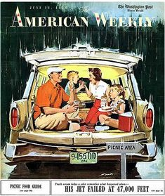"""Station Wagon 'Tailgating' in the 1950s: """"American Weekly,"""" June 24, 1956."""