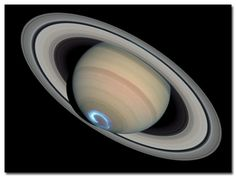 Southern polar region of Saturn with its aurora. Hubble Space Telescope, 2004